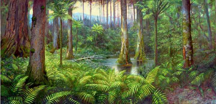 Amber forest in Museum of Amber Inclusions University of Gdańsk | painting - Krzysztof Buczak |
