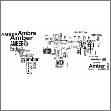 What is the name of amber in different languages?